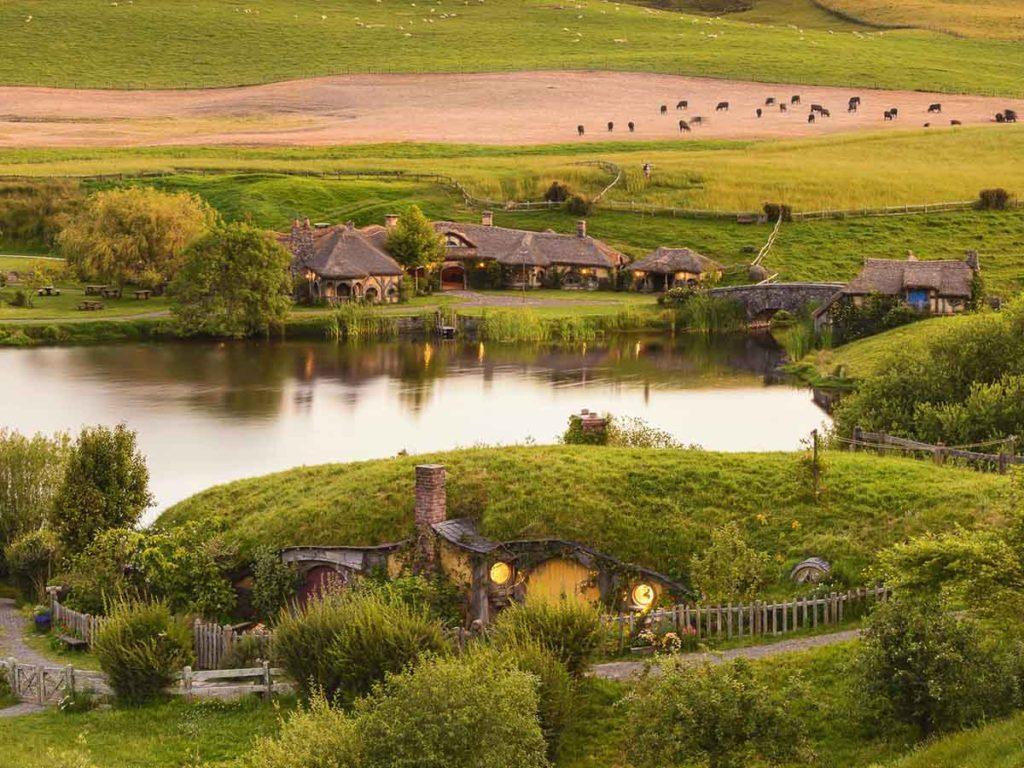 view of the green dragon at hobbiton movie set